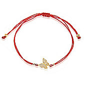 Red string bracelet with gold plated pave butterfly