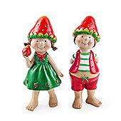 Jacob & Jill the Standing Strawberry Twins Garden Ornament Pair