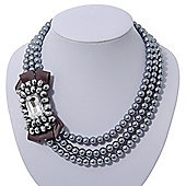 3-Strand Grey Glass Bead With Fabric Bow Necklace In Silver Plating - 40cm Length