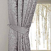 Homescapes Grey Velvet Jacquard Curtains Tie Backs Pair