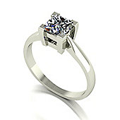 18ct White Gold 5.5mm Square Brilliant Moissanite Single Stone Ring
