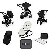 Ickle Bubba Stomp v3 AIO Travel System/Bouncer Combo - Black (Silver Chassis)