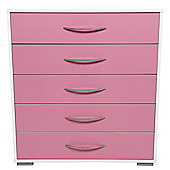 Newport 5 Drawer Chest Pink