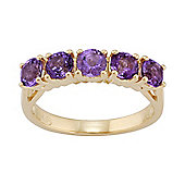 Gemondo Gold Plated Sterling Silver 1.00ct Natural Amethyst Classic Five Stone Ring
