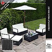 BillyOh Black Sandringham 4 Seater Sofa Rattan Garden Funrniture Set