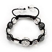 Smooth Round Hematite, Transparent & Clear Crystal Balls Swarovski Shamballa Bracelet - Adjustable