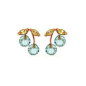 QP Jewellers Peridot & Blue Topaz Cherry Drop Stud Earrings in 14K Rose Gold
