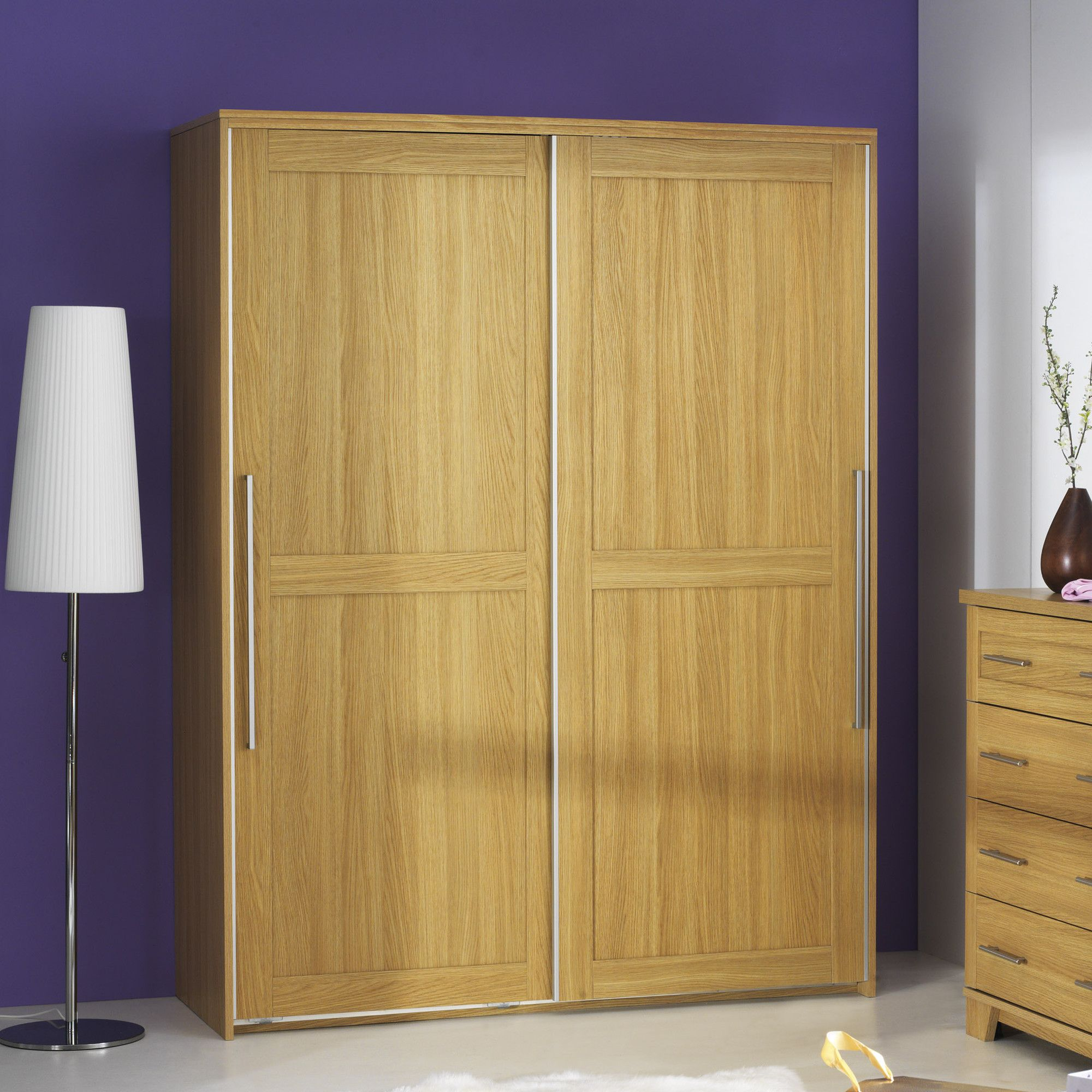 Caxton Melody 2 Door Sliding Door Wardrobe in Natural Oak at Tesco Direct