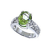 QP Jewellers Diamond & Green Amethyst Renaissance Ring in 14K White Gold