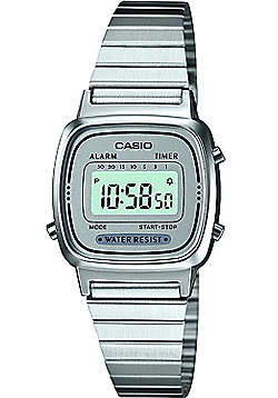 Casio Mini Ladies Silver Tone Digital Watch LA670WEA-7EF