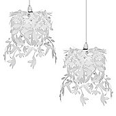 Pair of Hummingbird Ceiling Pendant Light Shades in White