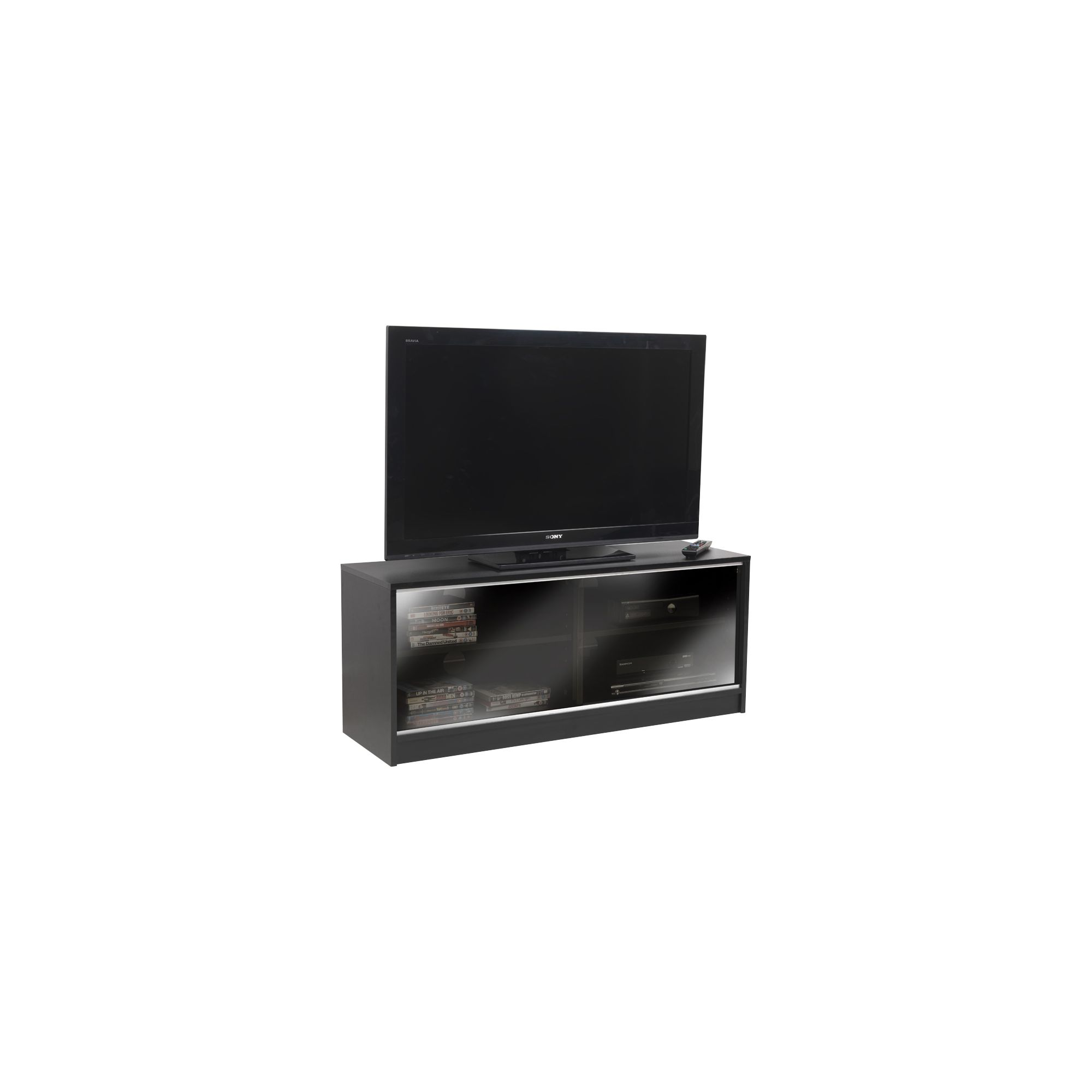 Black tv cabinet with double sliding doors images for Black cabinet with doors