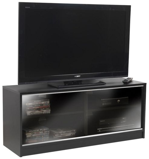 Black TV Cabinet With Double Sliding Doors