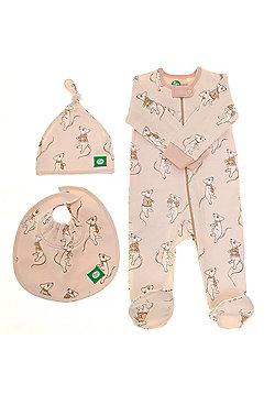 Zippy Gift Set (Zip Up Sleepsuit with Beanie Hat and Absorbent Bib) - Cream
