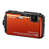 Nikon Coolpix AW110 Digital Camera, Orange, 16MP, 5x Optical Zoom, 3.0 inch LCD Screen