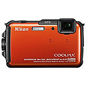Nikon Coolpix AW110 Digital Camera, Orange, 16MP, 5x Optical Zoom, 3.0 inch LCD Screen