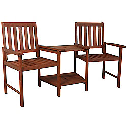Duple - Solid Wood Twin Garden Seat With Table - Brown