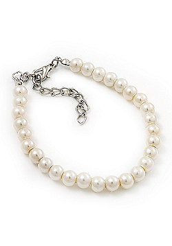 Classic Imitation Pearl Bracelet In Silver Tone Finish (6mm) - 16cm length with 4cm extension