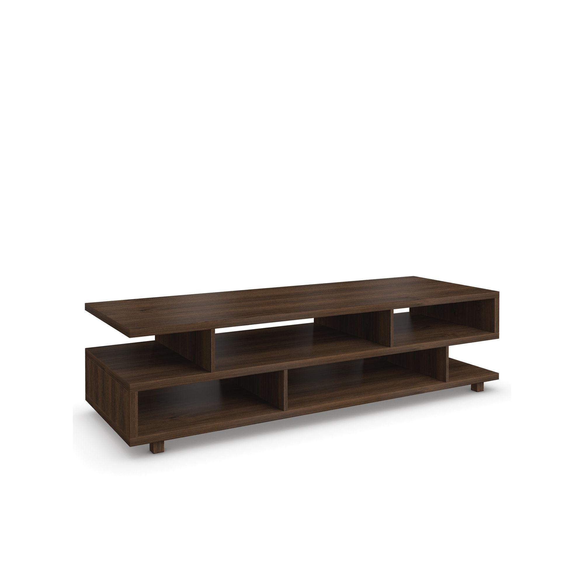 Urbane Designs Hadlee Contemporary Walnut Livingroom Small Asymmetric Shelf at Tesco Direct
