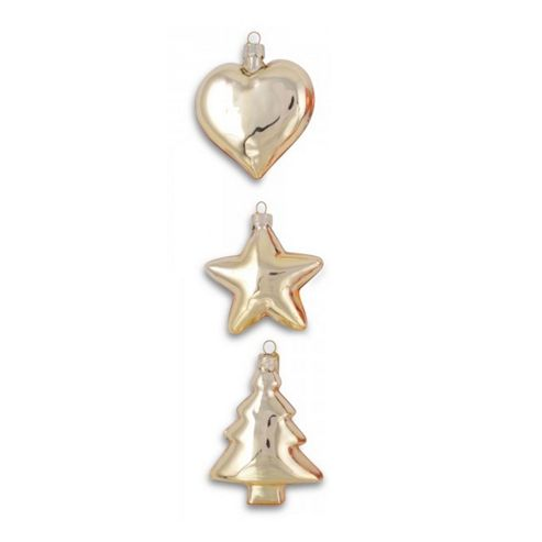 Set of Three Glass Christmas Baubles Heart, Star & Tree in Gold