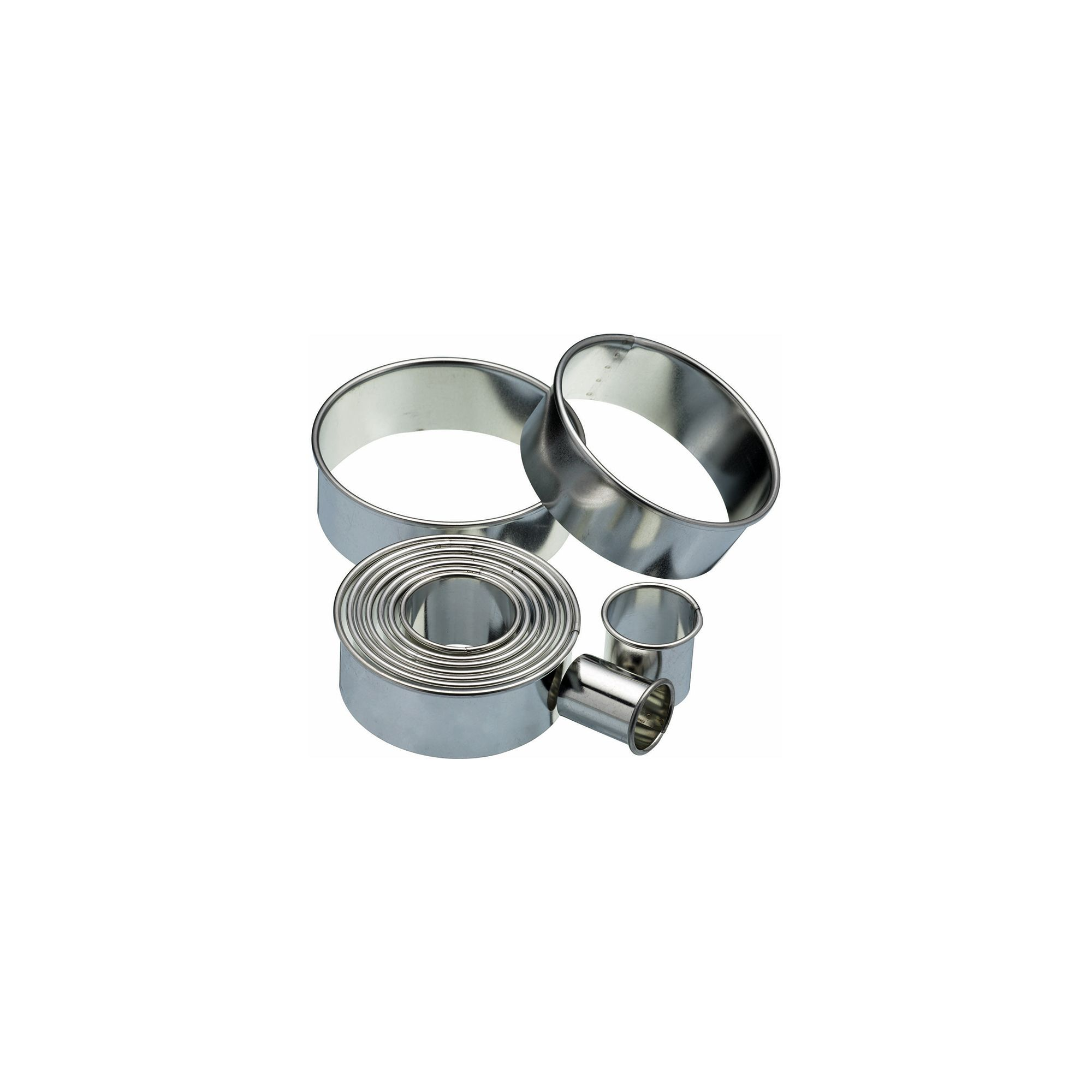 Kitchen Craft Eleven Round Plain Pastry Cutters With Metal Storage Tin