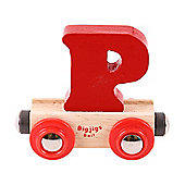 Bigjigs Rail Rail Name Letter P (Dark Red)