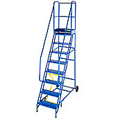 Medium Duty 9 Tread Steel Warehouse Mobile Step (Punched Tread)