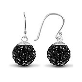 Jewelco London Sterling Silver Crystal 12mm Disco Dazzle Ball Drops Shamballa Earrings - black