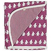 Pigeon Organics Reversible Blanket, Penguin Print (Raspberry)