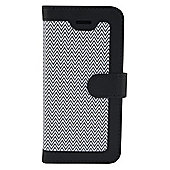Tortoise™ Look Faux Leather Folio Case, iPhone 5/5S.Zig Zag design, Black/White