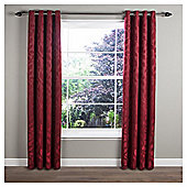 Classic Leaf Lined Eyelet Curtains 66x72 Red