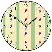 Smith & Taylor Retro Green Stripes and Rosebuds Wall Clock