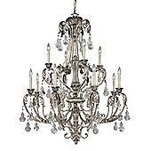 Savoy House Florita Twelve Light Chandelier in Silver Lace