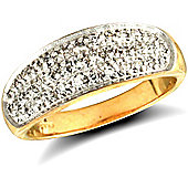 Jewelco London 9ct Solid Gold polished finish Bombay Ring pave-set with CZ stones