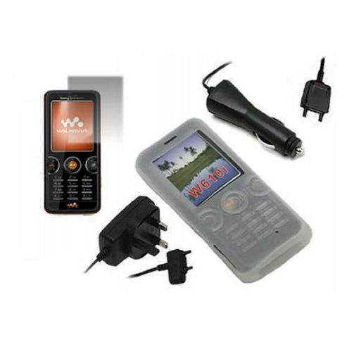 iTALKonline Screen Protector, Car/Mains Charger and Silicone Case White - For Sony Ericsson W610I