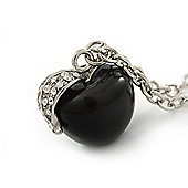 Black Resin 'Apple' Pendant With Long Silver Tone Oval Link Chain Necklace - 70cm Length
