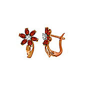 QP Jewellers Diamond & Garnet Flower Earrings in 14K Rose Gold