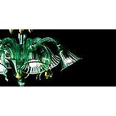 De Majo Chandelier - Light Green with Gold Decorations - 78 cm H x 80 cm Dia
