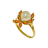 QP Jewellers Citrine & Pearl Ivy Ring in 14K Gold
