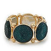 Glittering Emerald Green Circle Flex Bracelet In Gun Metal - 20cm Length