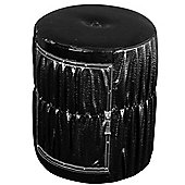 Noir - Round Drum Storage Stool / Pouffe - Black