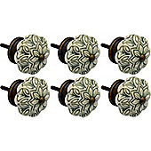 Ceramic Cupboard Drawer Knobs - Vintage Flower Design - Olive Green - Pack Of 6
