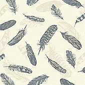 Feather Plume Wallpaper Blue and Cream - Arthouse 252801