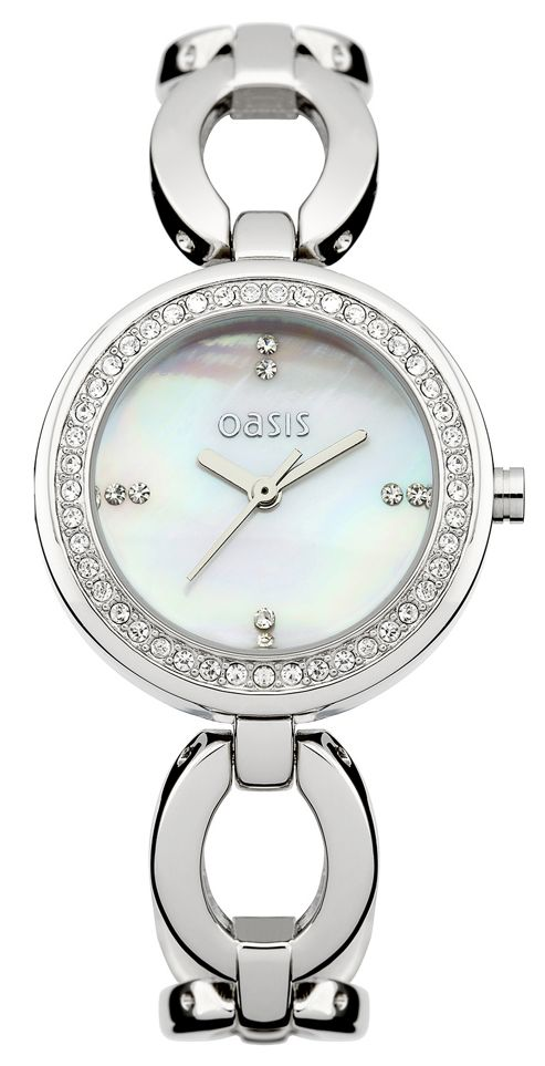 Oasis Ladies Stainless Steel MOP Dial Stone Set Watch B1264