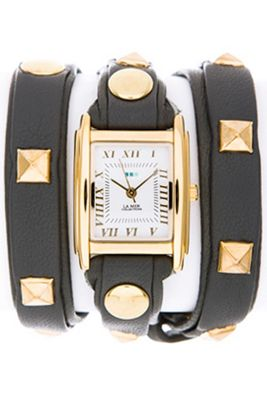 La Mer Ladies Pyramid Stud Wrap Black Leather Watch LMLW1010C