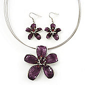 Purple Enamel Diamante 'Flower' Wire Necklace & Drop Earrings Set In Silver Plating - 38cm Length/ 5cm Extension