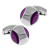 Round Purple Enamel Bridge Cufflinks