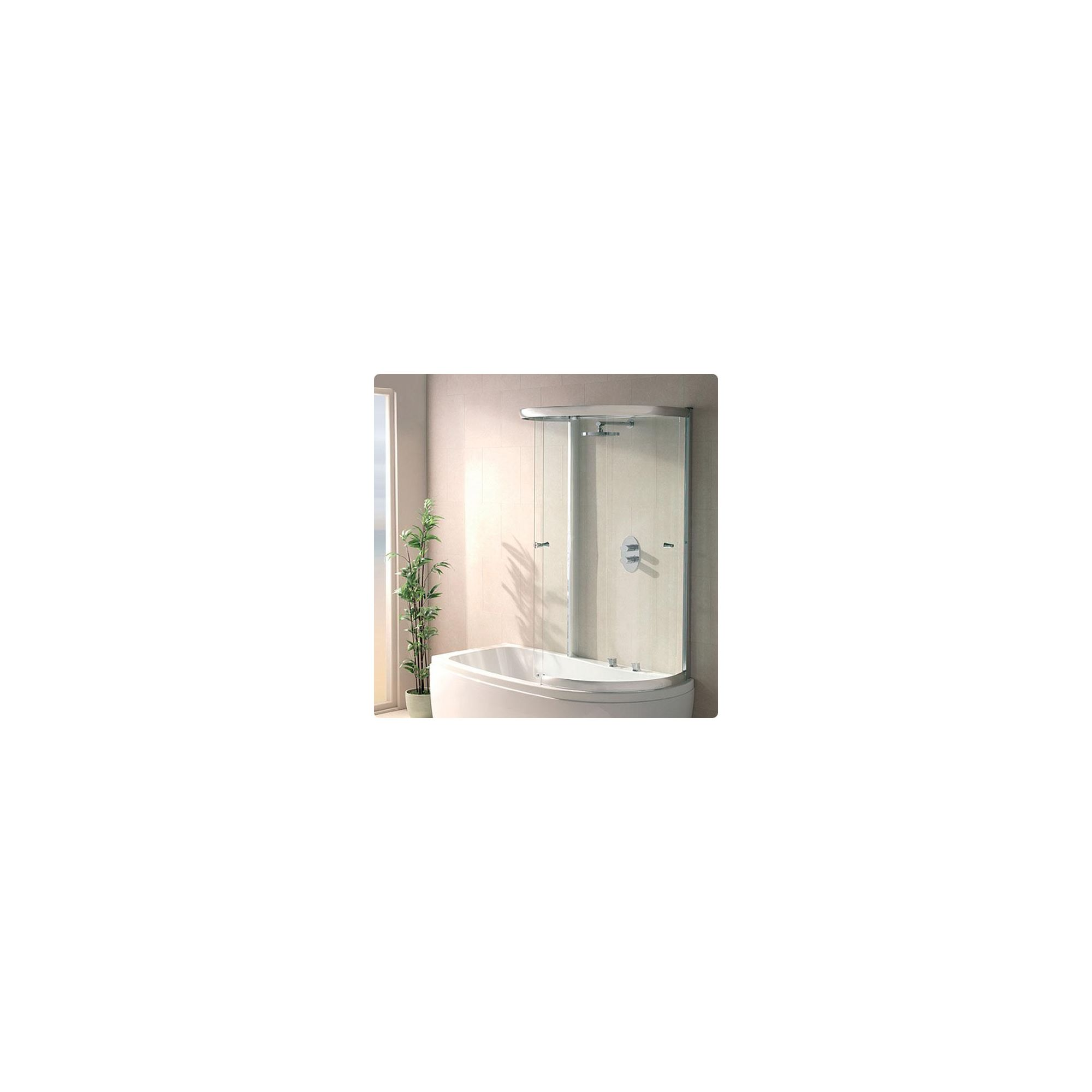 Duchy SOPHIA Curved Showerbath Bath Panel with Extending Sliding Door inside Enclosure Style Frame RIGHT HANDED with Silver Profile at Tesco Direct