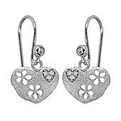 Blossom Copenhagen Rhodium Plated Sterling Silver Cubic Zirconia Heart Hook Drop Earrings
