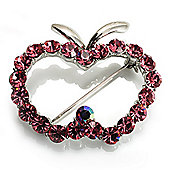 Pink Crystal Open-Apple Brooch (Silver Tone)